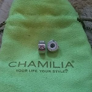 Two Chamila Lock Charms with Pink Stone